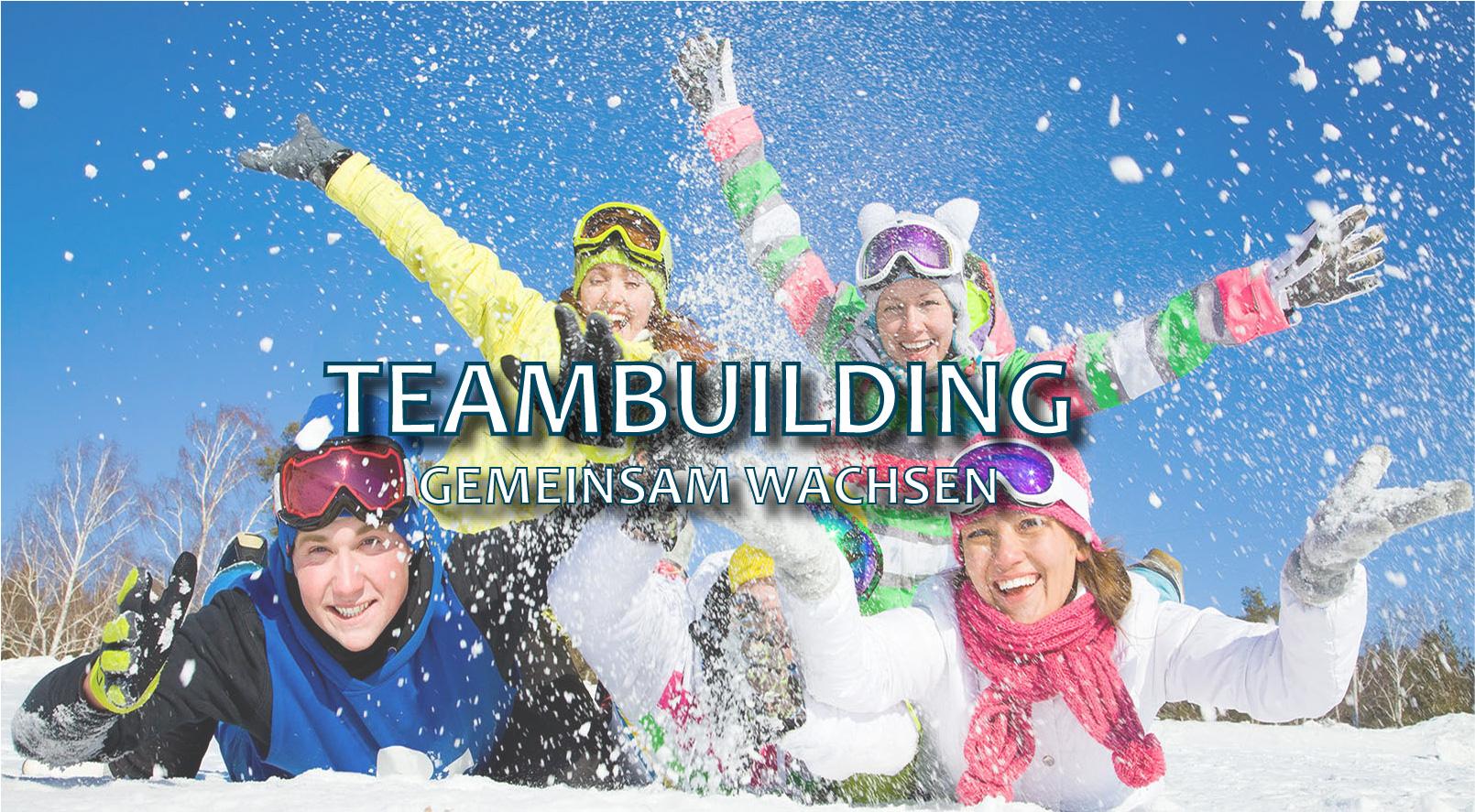 Teambuilding - Personen spielen im Schnee und haben Spaß